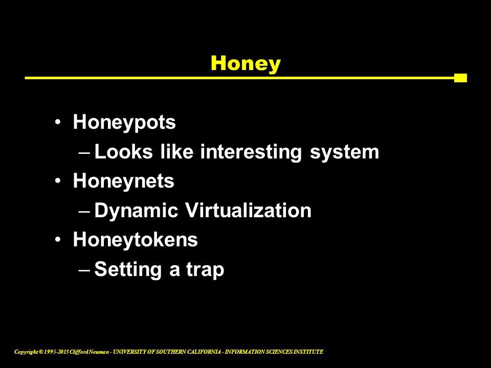 Honey Honeypots. Looks like interesting system. Honeynets. Dynamic Virtualization. Honeytokens.