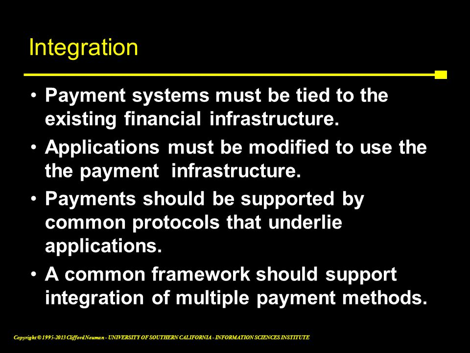 Integration Payment systems must be tied to the existing financial infrastructure.