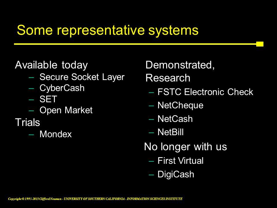 Some representative systems