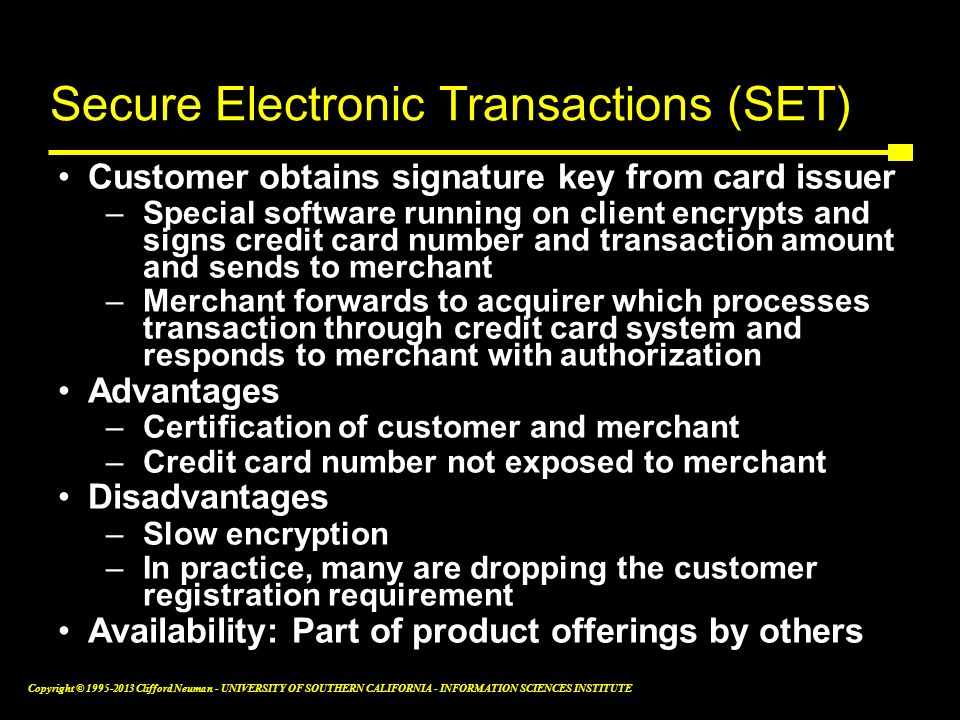 Secure Electronic Transactions (SET)