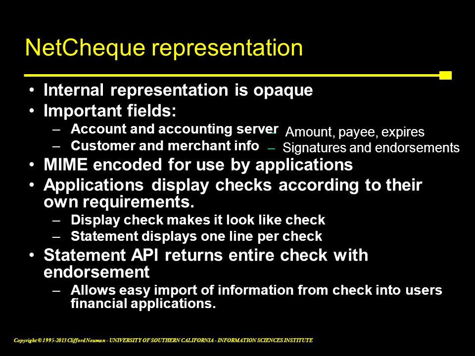 NetCheque representation