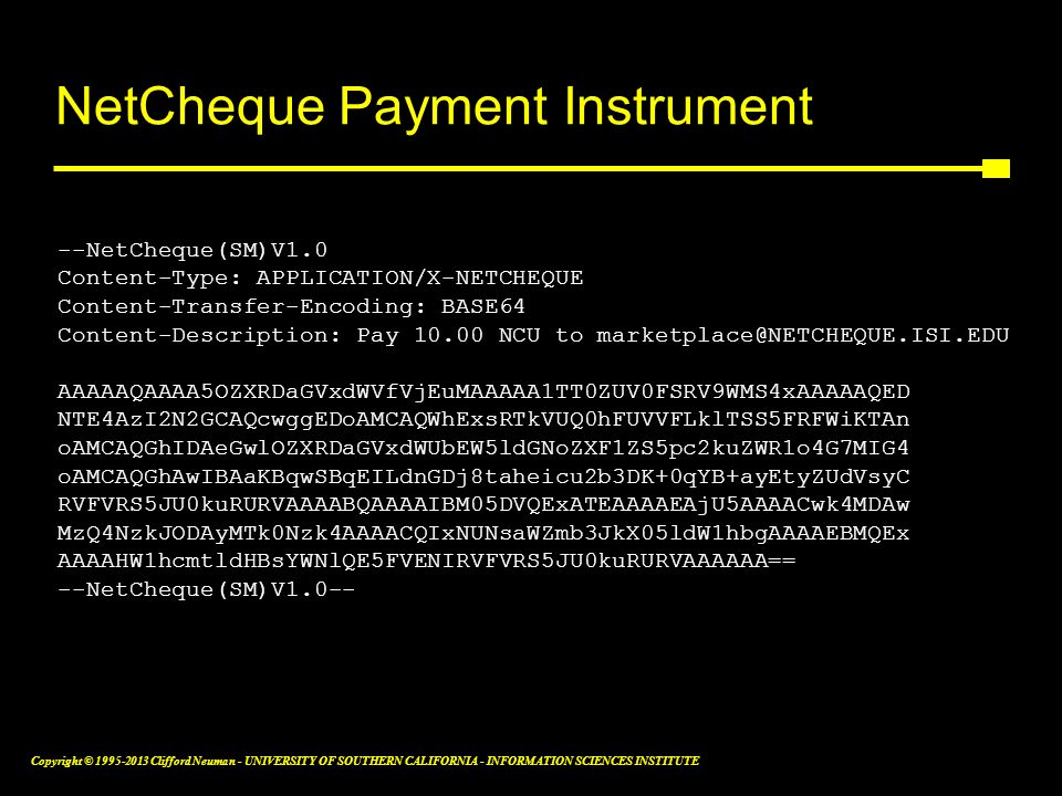 NetCheque Payment Instrument