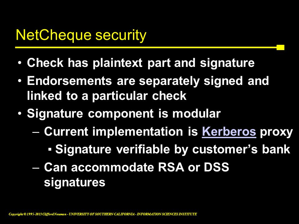 NetCheque security Check has plaintext part and signature