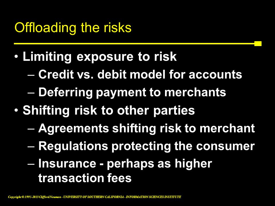 Offloading the risks Limiting exposure to risk