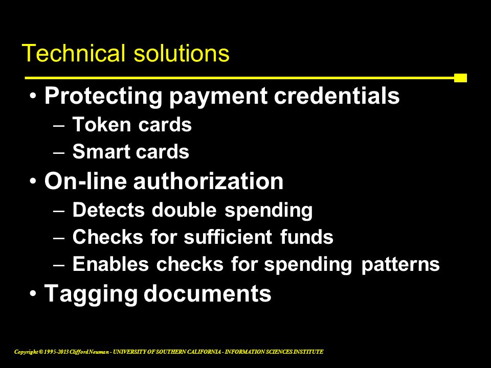 Technical solutions Protecting payment credentials