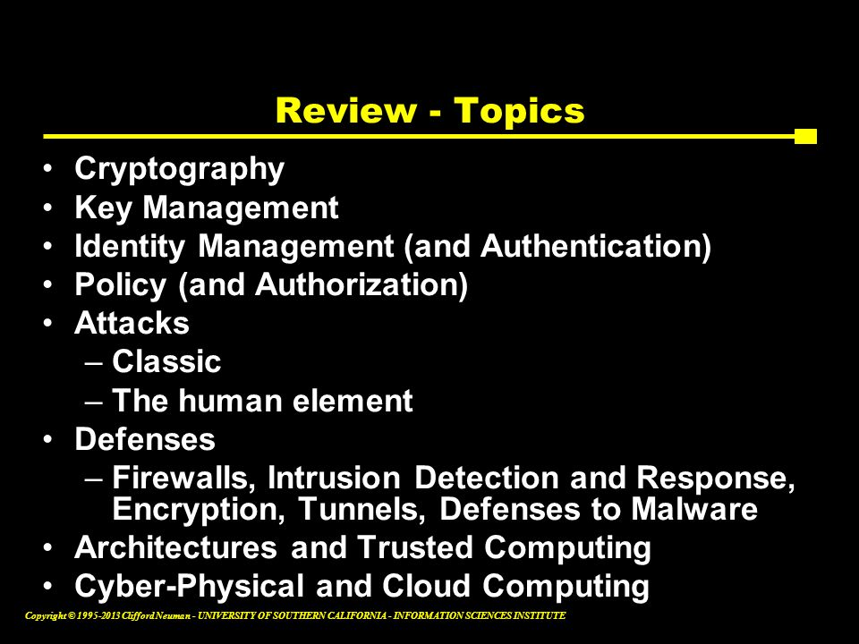 Review - Topics Cryptography Key Management