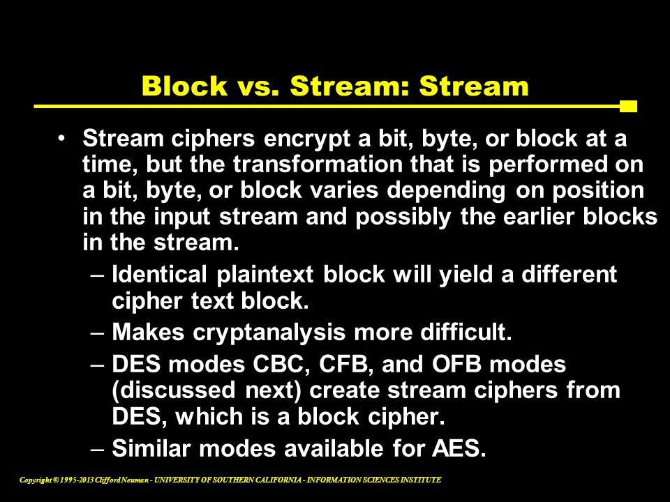 Block vs. Stream: Stream