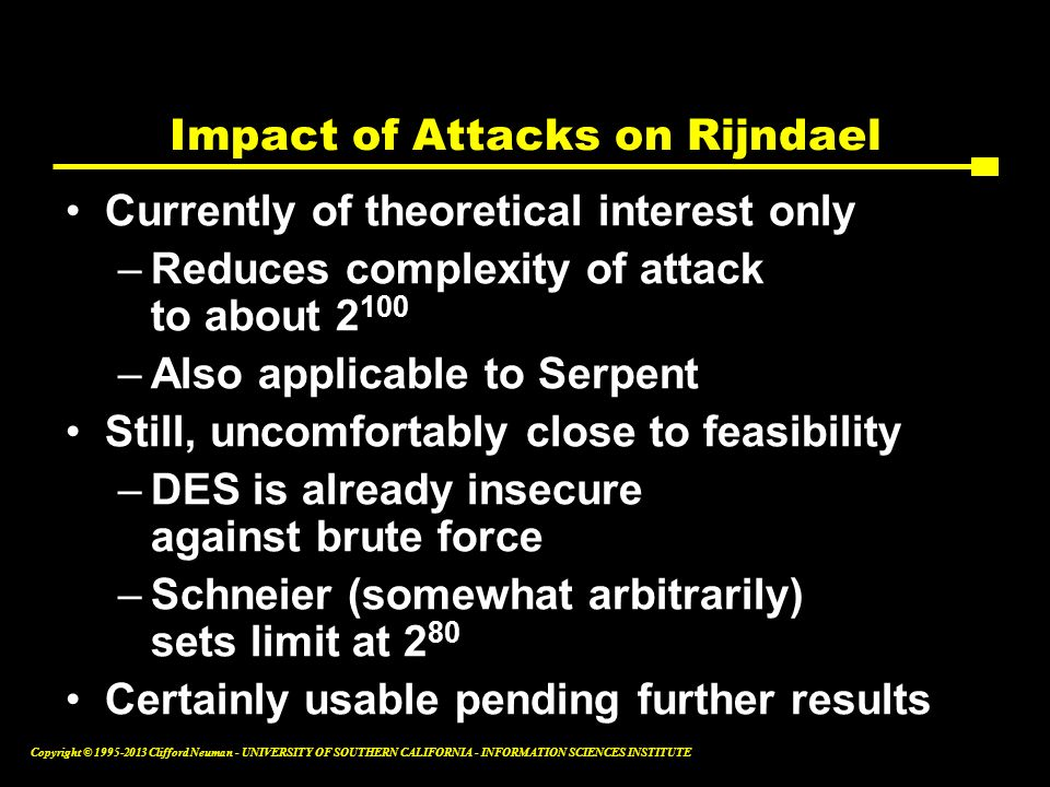 Impact of Attacks on Rijndael