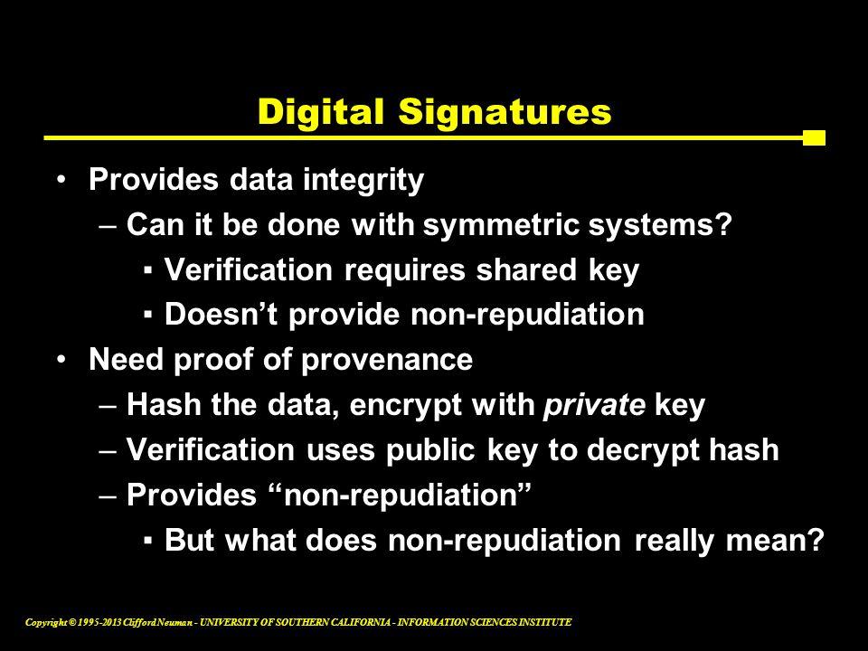 Digital Signatures Provides data integrity