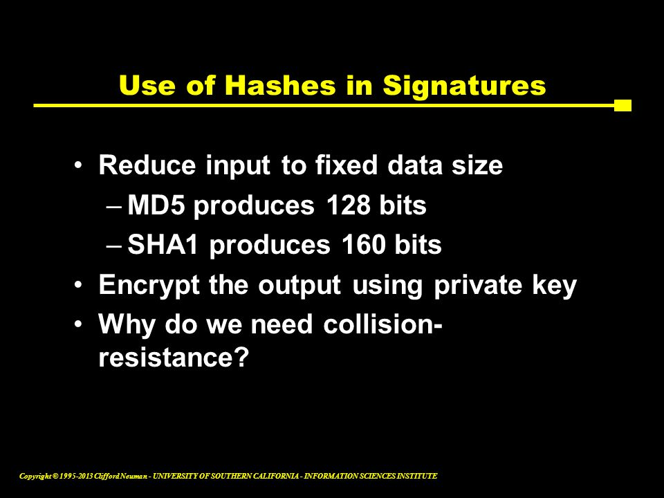 Use of Hashes in Signatures
