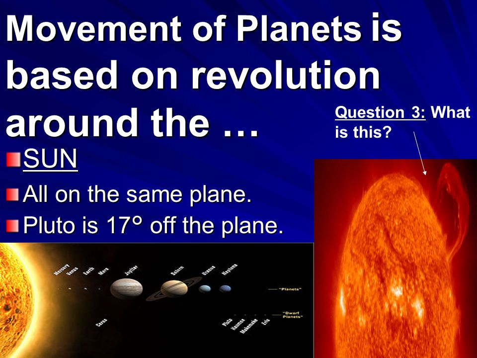Movement of Planets is based on revolution around the …
