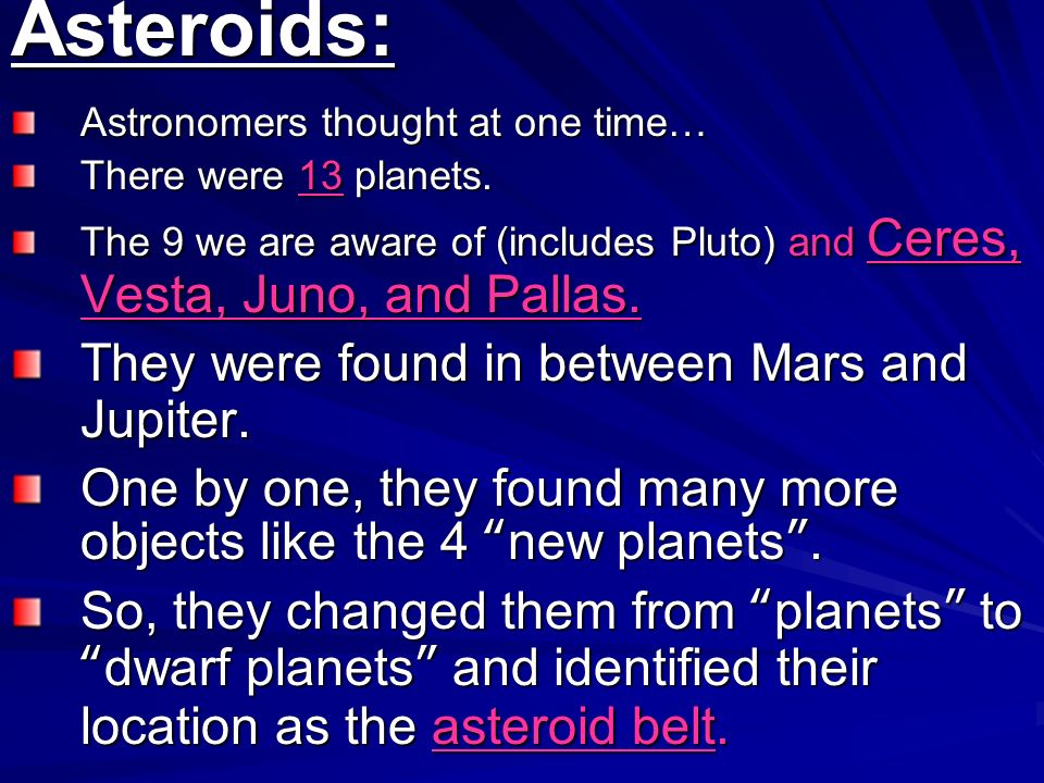 Asteroids: They were found in between Mars and Jupiter.