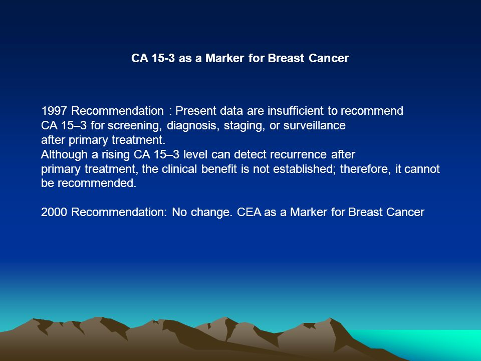 CA 15-3 as a Marker for Breast Cancer