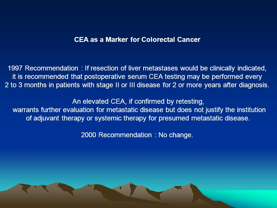 CEA as a Marker for Colorectal Cancer