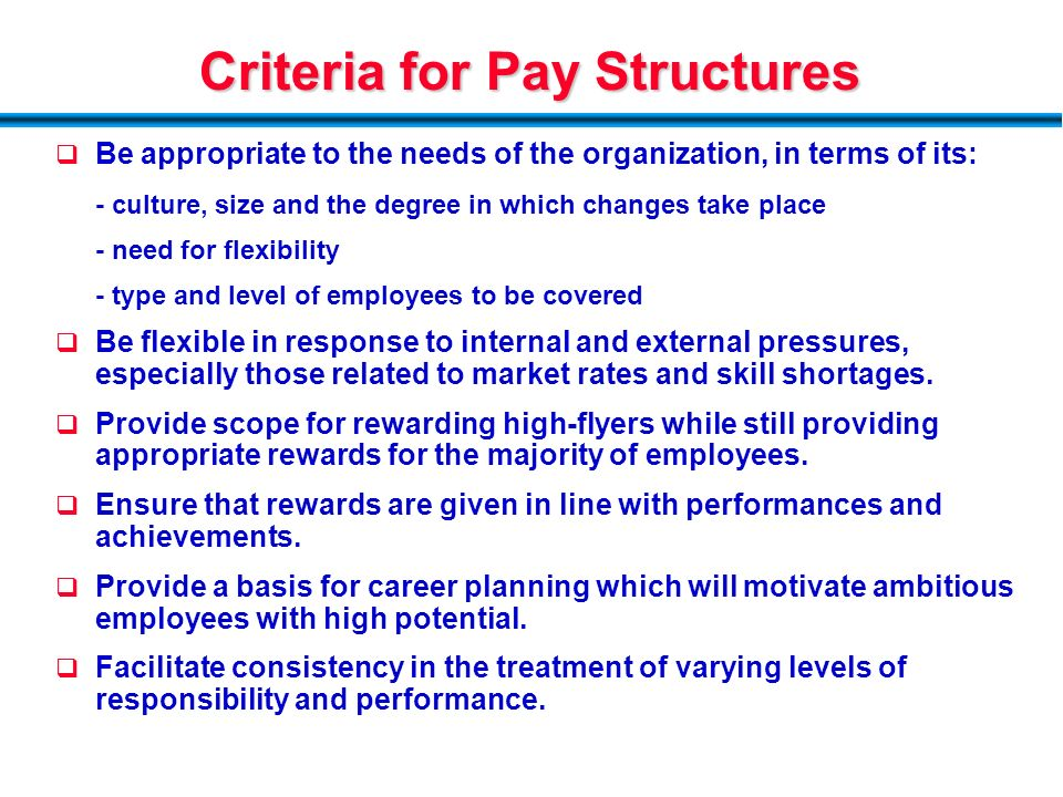 criteria for a good compensation system Improvements, and how the system intends to pay for them matter a  at its best,  alternative compensation rewards teachers who master their craft and strive to  become the best  mitigate any subjective criteria or biases that might influence.