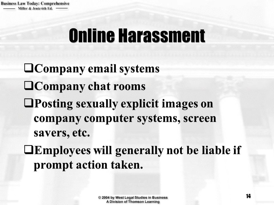 Online Harassment Company  systems Company chat rooms