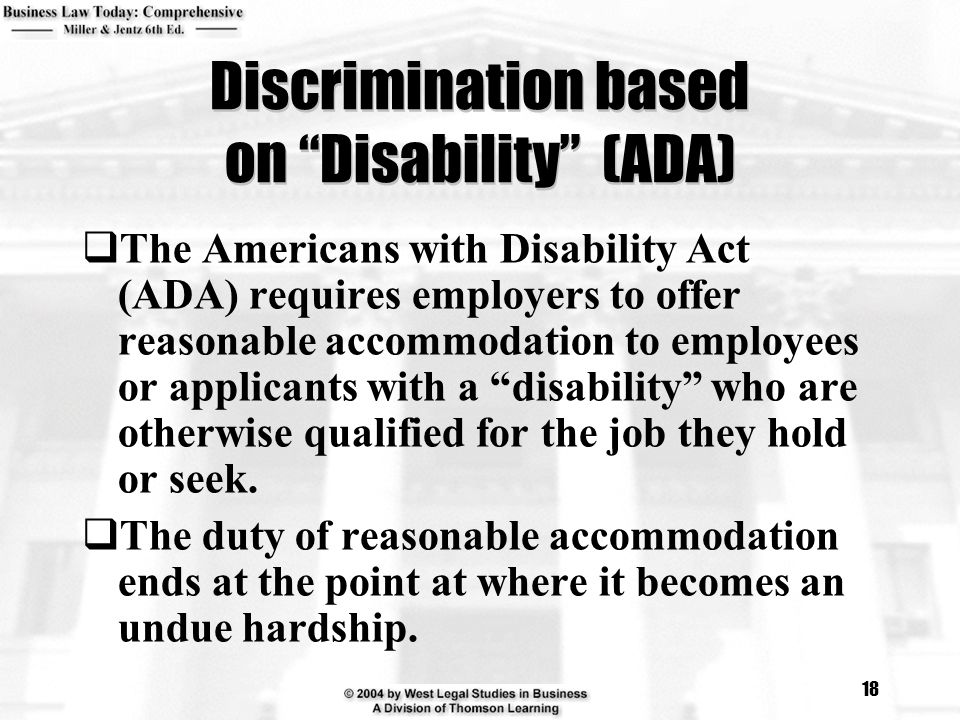 Discrimination based on Disability (ADA)