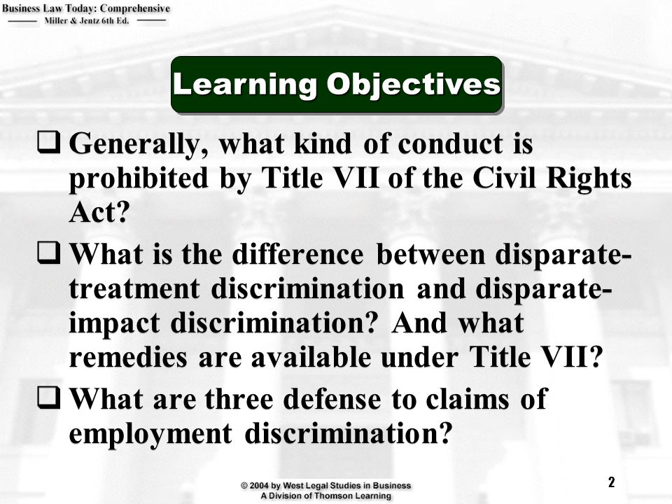 What are three defense to claims of employment discrimination