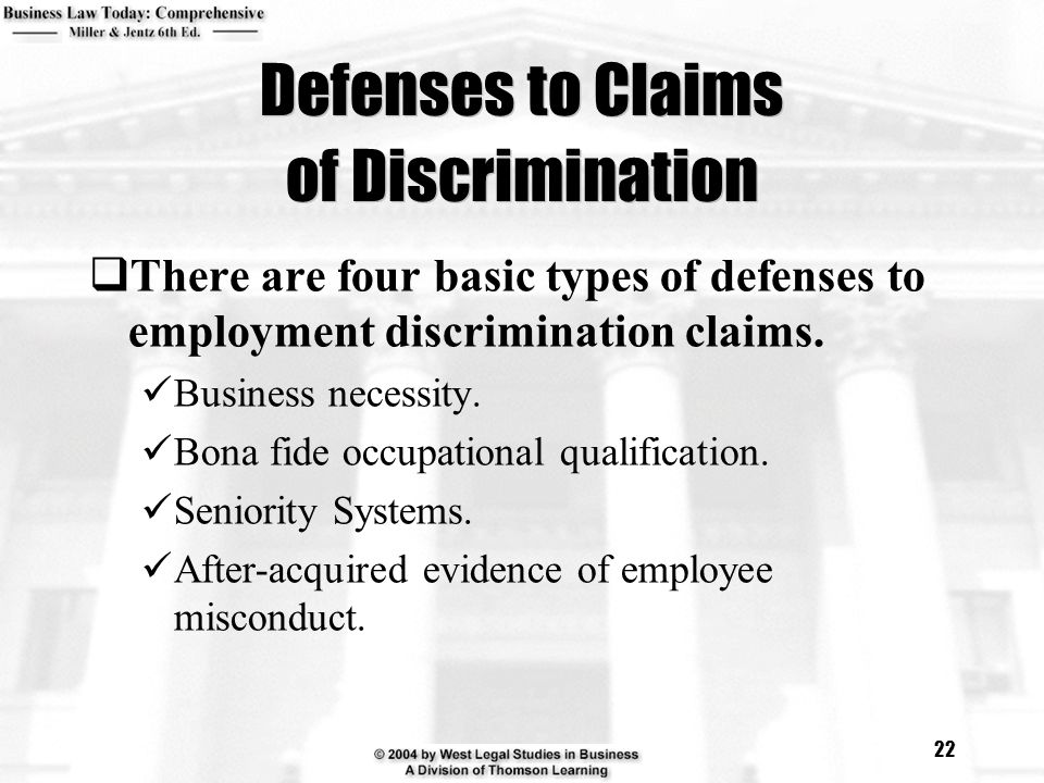 Defenses to Claims of Discrimination