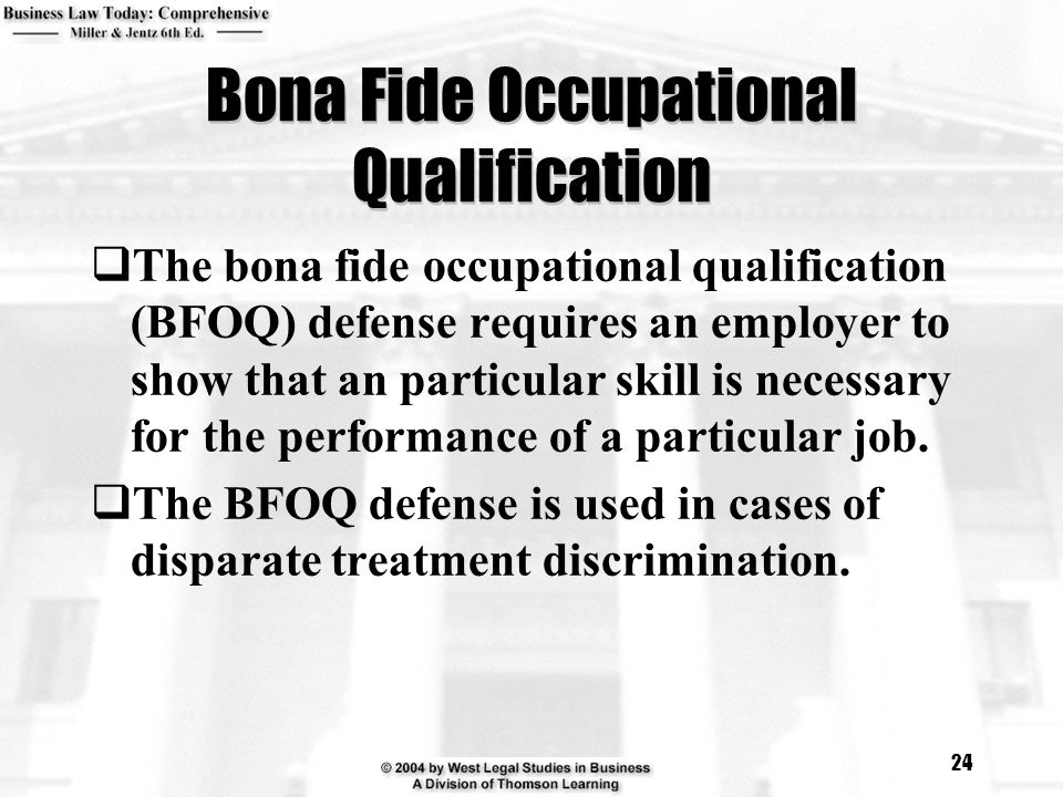 Bona Fide Occupational Qualification