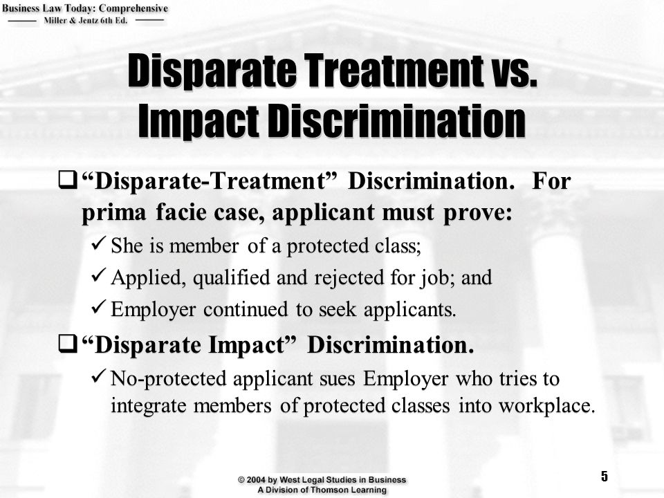 Disparate Treatment vs. Impact Discrimination