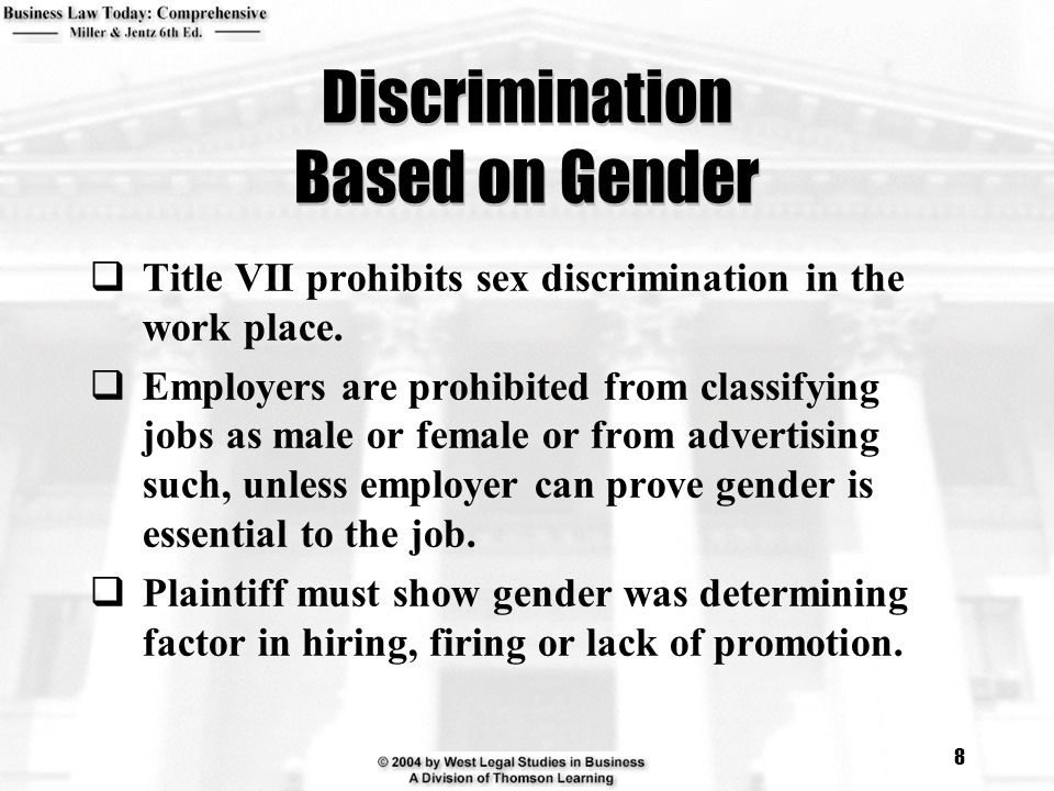 Discrimination Based on Gender