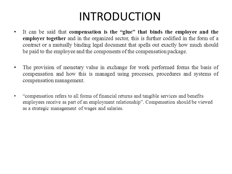 Introduction to Compensation Policy