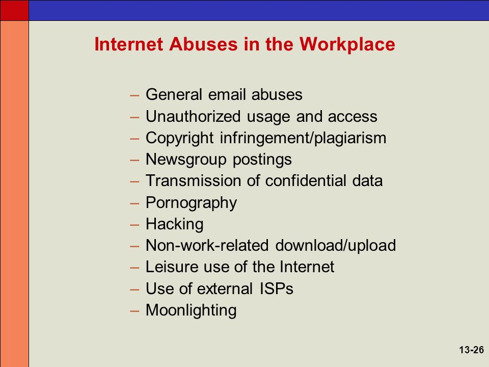 internet in the workplace Internet and email use has unquestionably become a necessary part of conducting business for the vas.