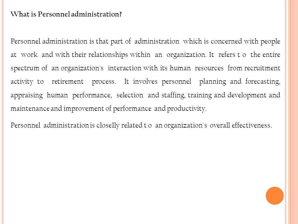 What is Personnel administration