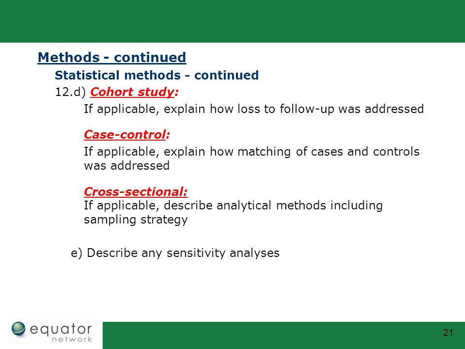 Methods - continued Statistical methods - continued