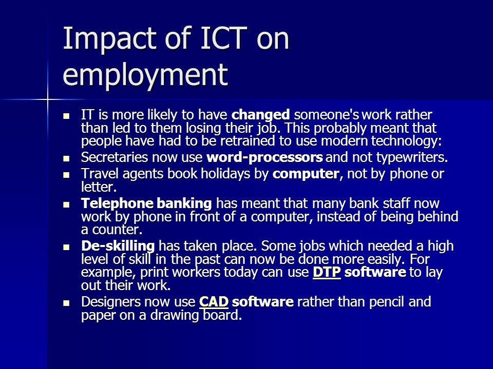 Impact of ICT on employment