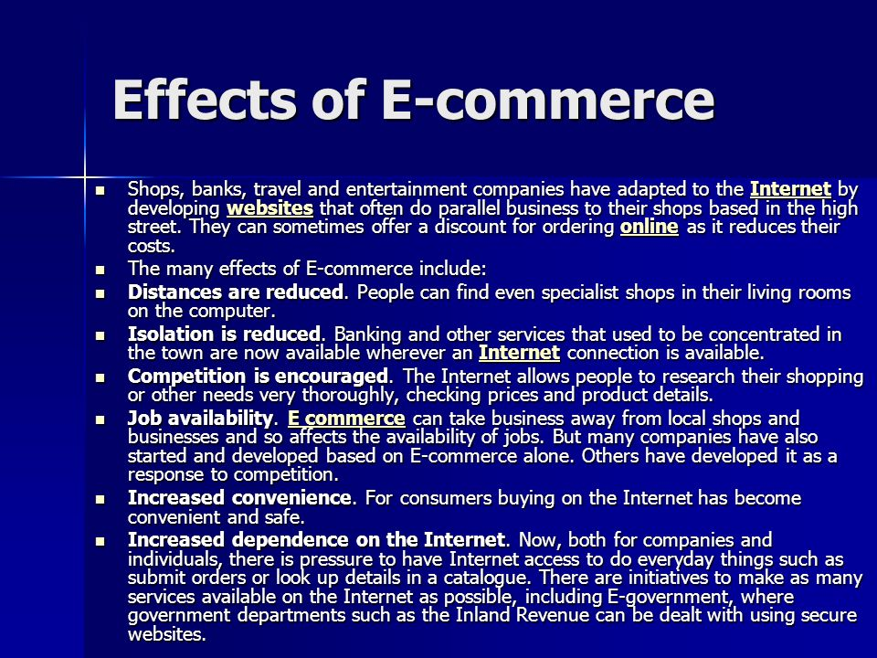 Effects of E-commerce