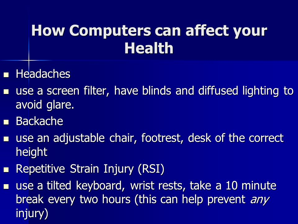 How Computers can affect your Health