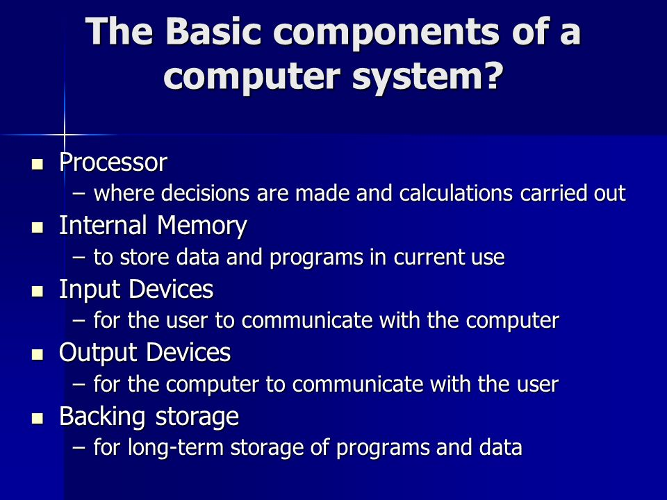 The Basic components of a computer system