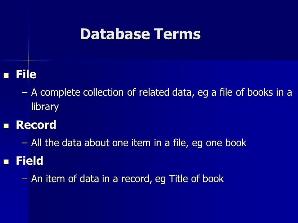 Database Terms File Record Field