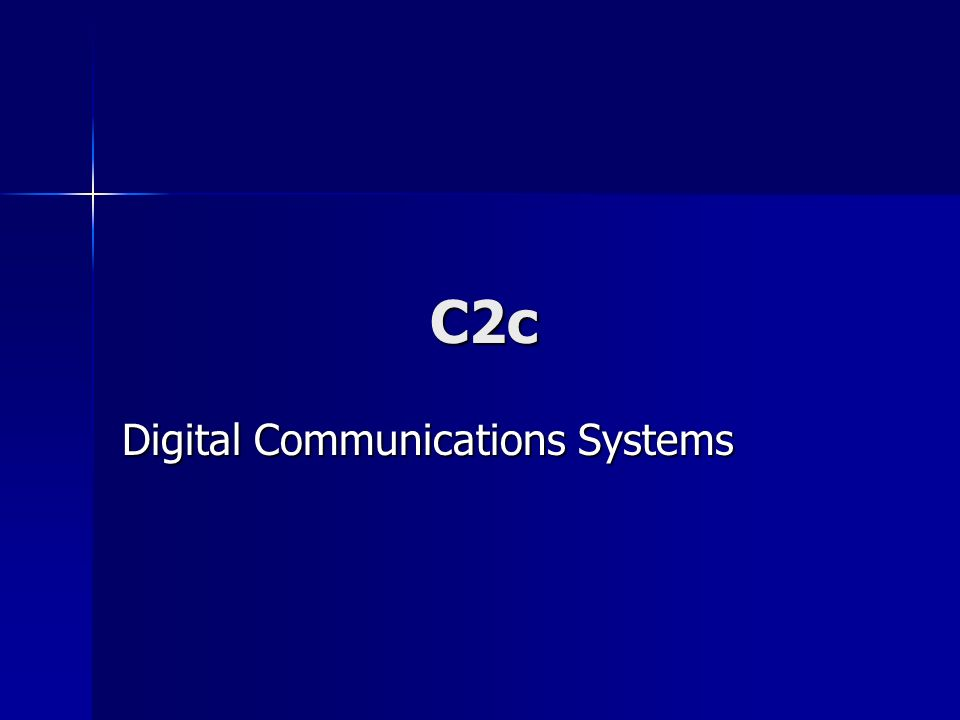 Digital Communications Systems