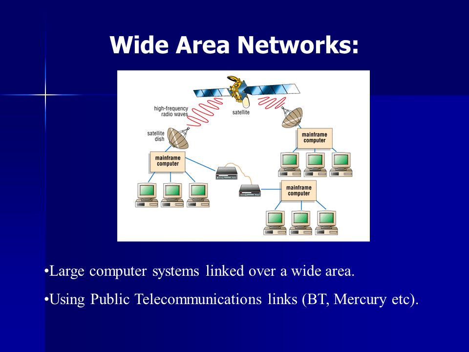 Wide Area Networks: Large computer systems linked over a wide area.