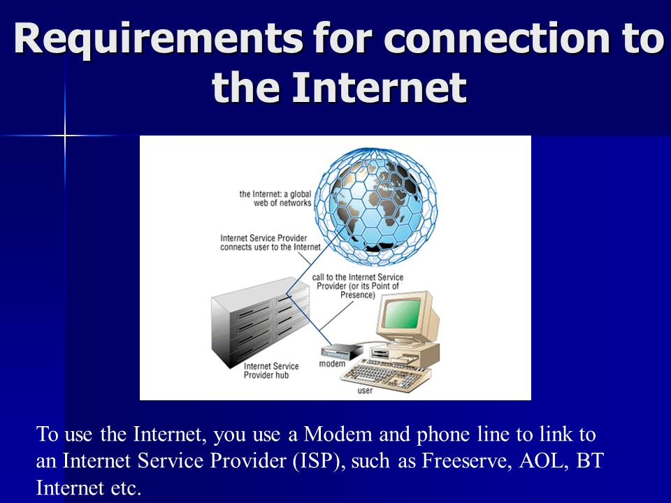 Requirements for connection to the Internet