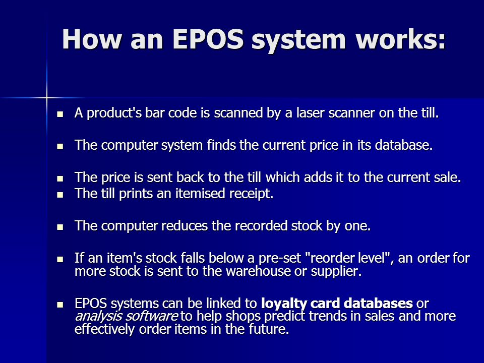 How an EPOS system works: