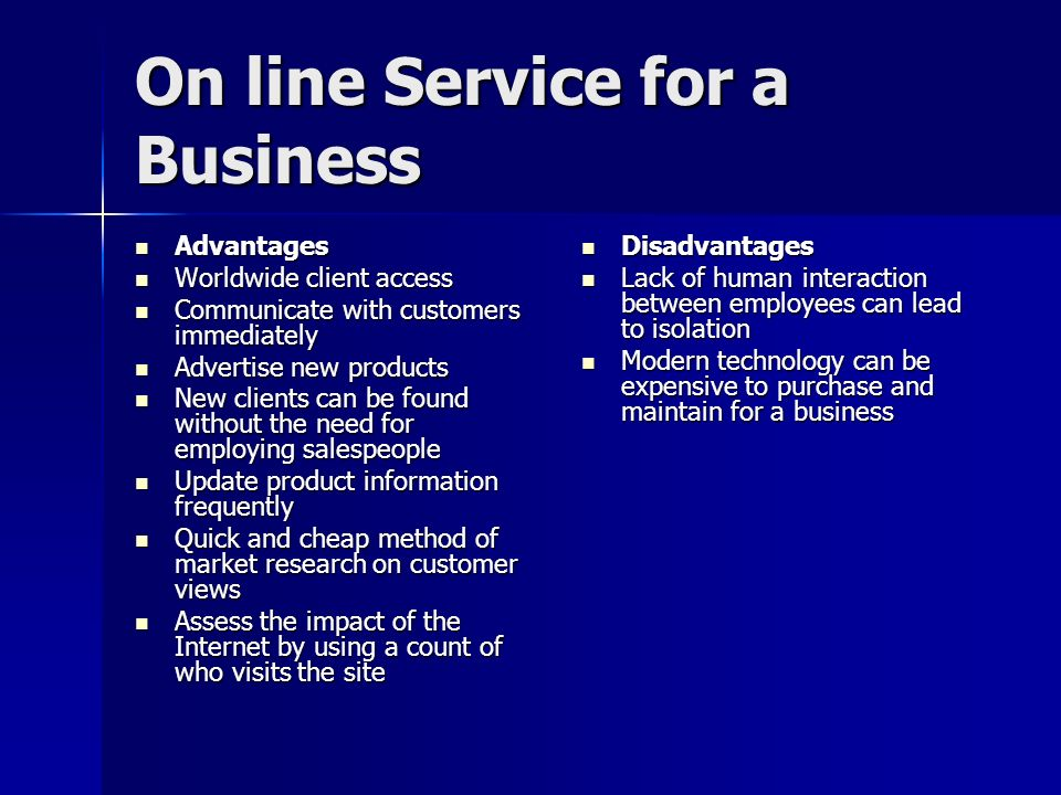 On line Service for a Business