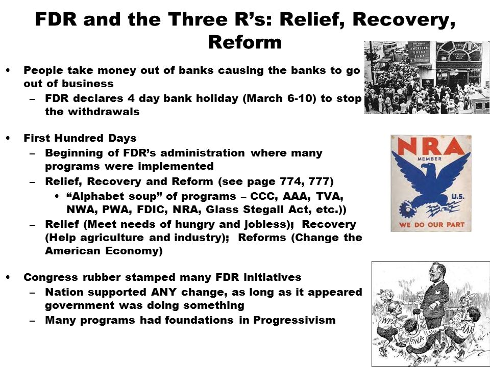 the relief recovery and reform alphabet agencies of the new deal Fdr relief, recovery and reform new deal programs during the great  the  initiatives were called alphabet soup agencies as they were referred to by their .