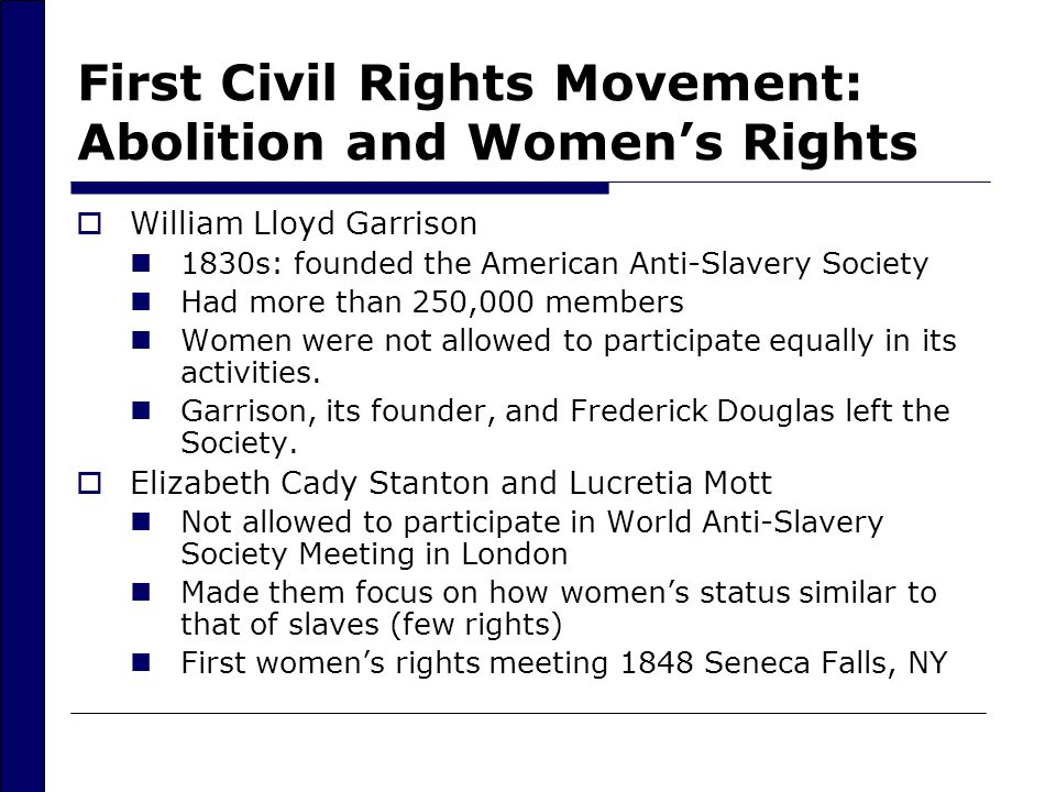 the efforts of elizabeth stanton in the women civil rights movement 07122011  elizabeth cady stanton spent her life  abolitionist and women's rights activist  and in the civil rights movement of the 60s that helped.