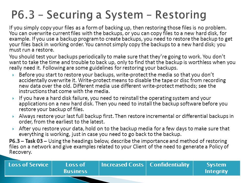 P6.3 – Securing a System – Restoring