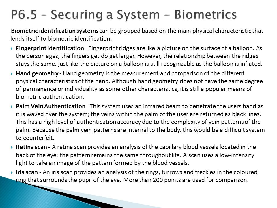 P6.5 – Securing a System - Biometrics
