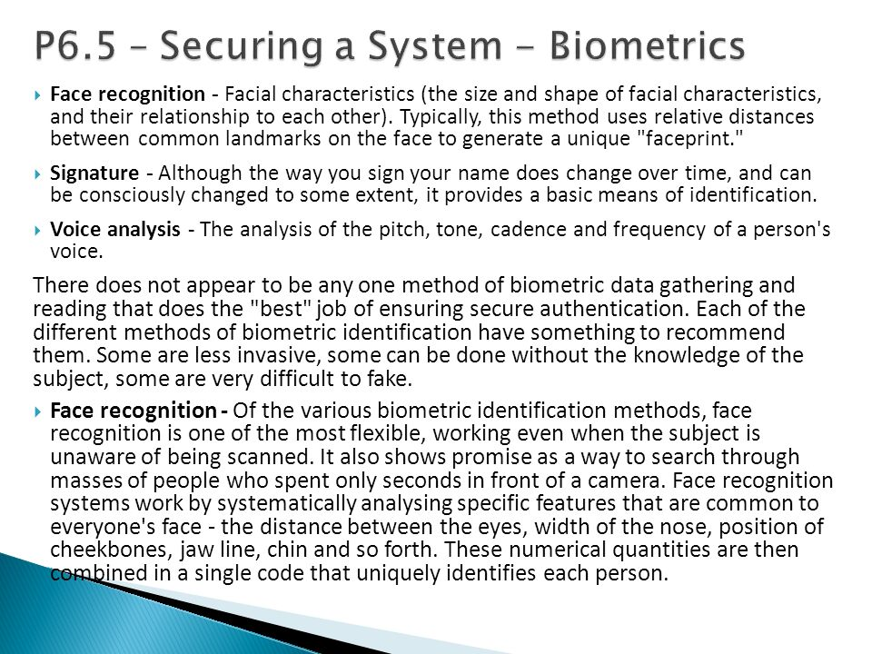 P6.5 – Securing a System - Biometrics