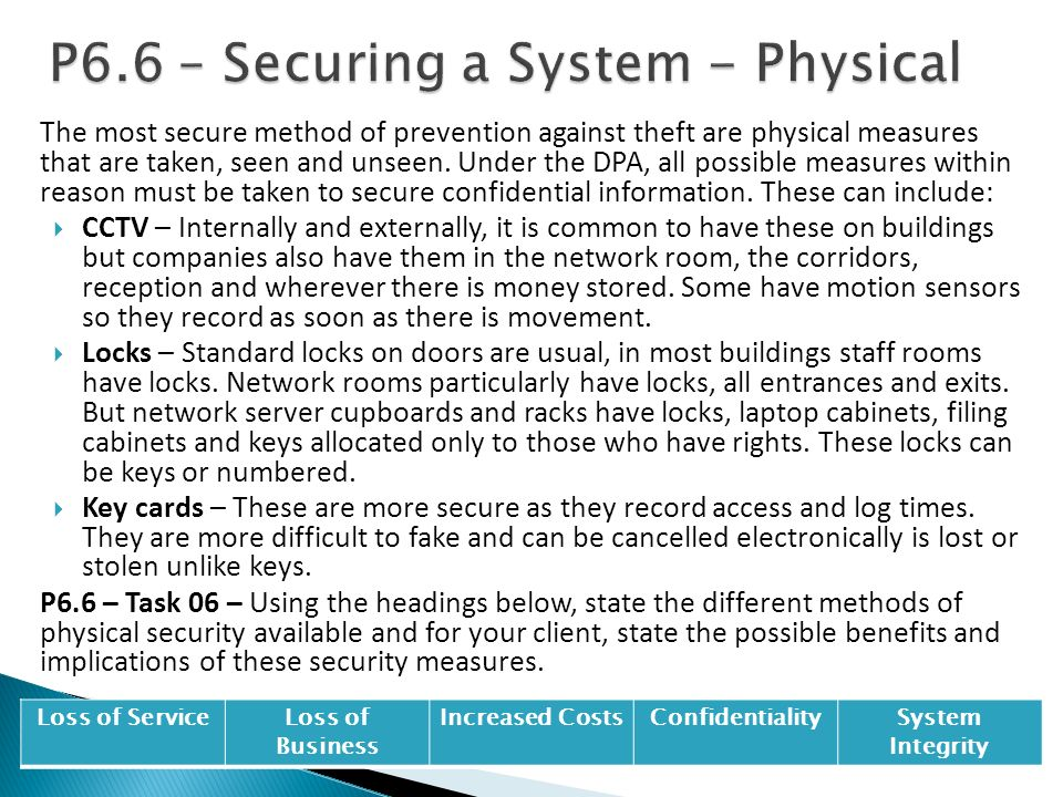 P6.6 – Securing a System - Physical