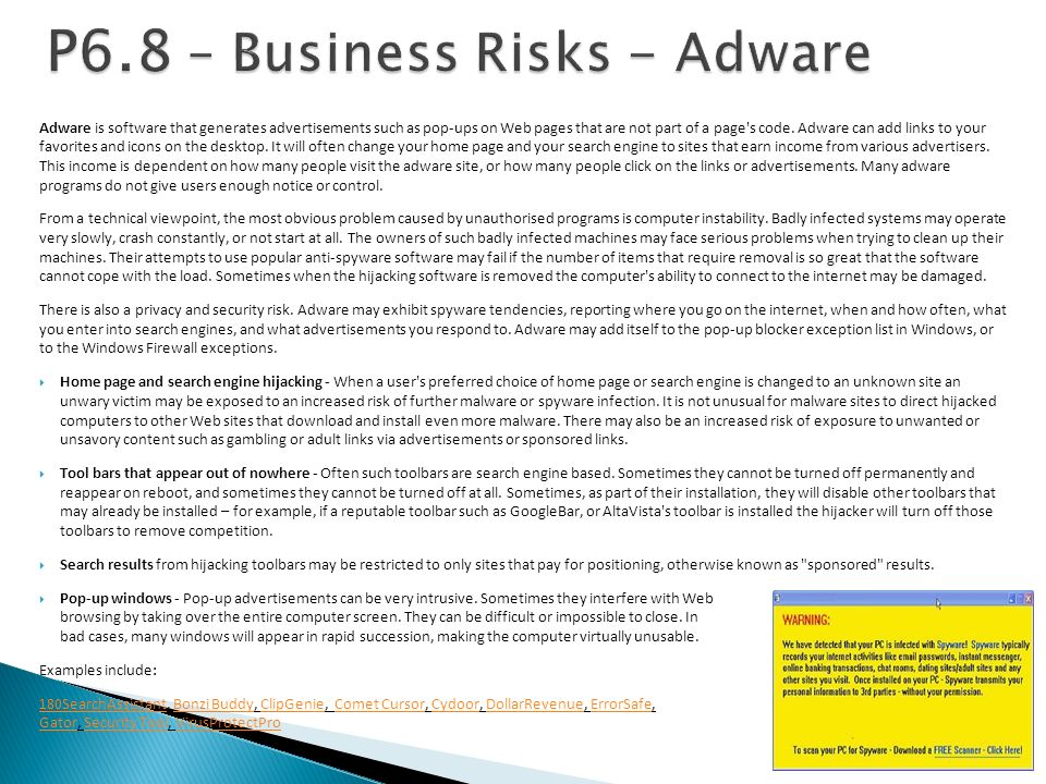 P6.8 – Business Risks - Adware