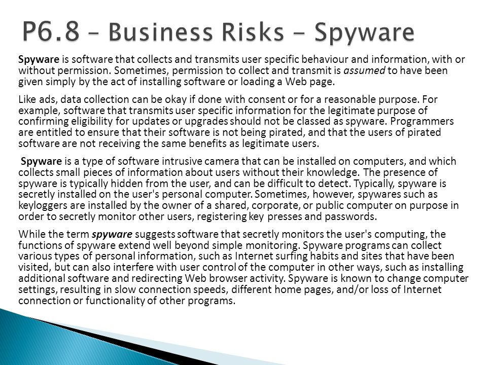 P6.8 – Business Risks - Spyware