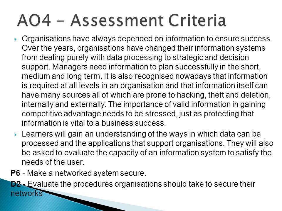 AO4 - Assessment Criteria