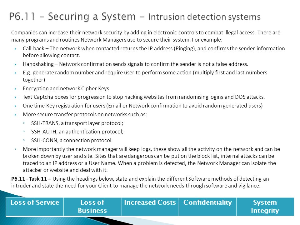 P6.11 – Securing a System - Intrusion detection systems